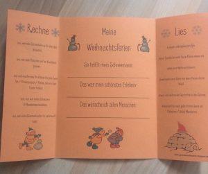 """""""Meine Weihnachtsferien"""" Kopfrechen -und Leseaufträge"""