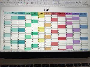 Kalender – Jahresübersicht 2019